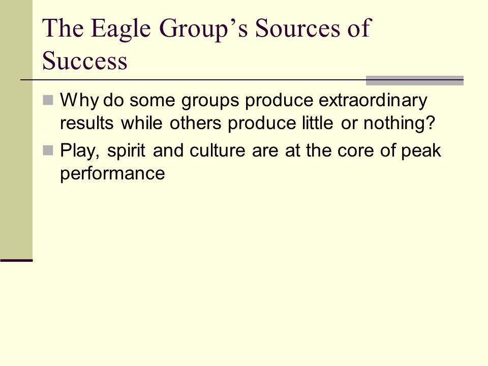 The Eagle Group's Sources of Success