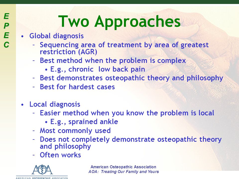 Two Approaches Global diagnosis