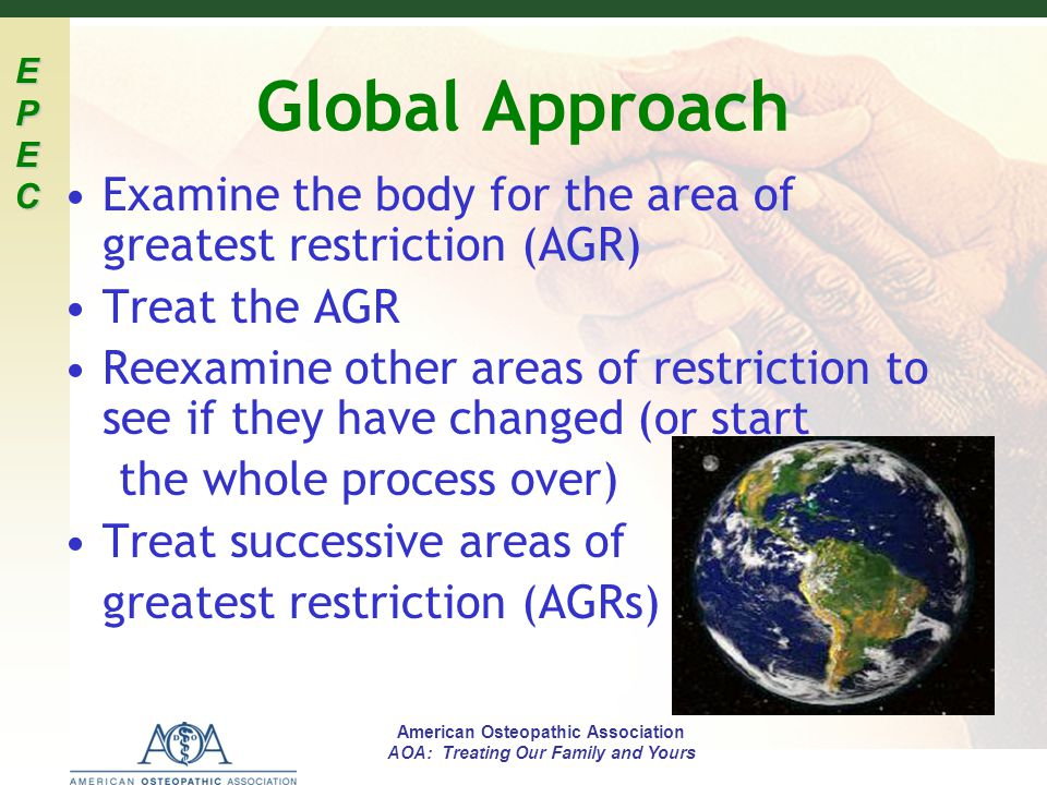 Global Approach Examine the body for the area of greatest restriction (AGR) Treat the AGR.