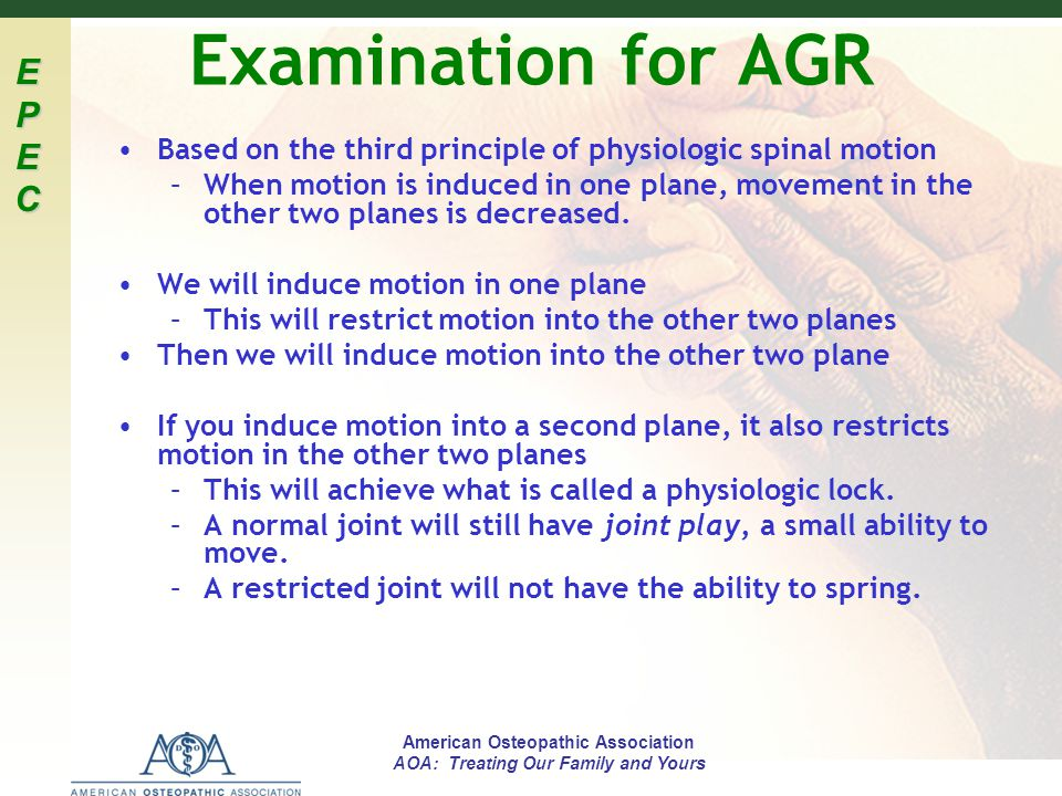 Examination for AGR Based on the third principle of physiologic spinal motion.