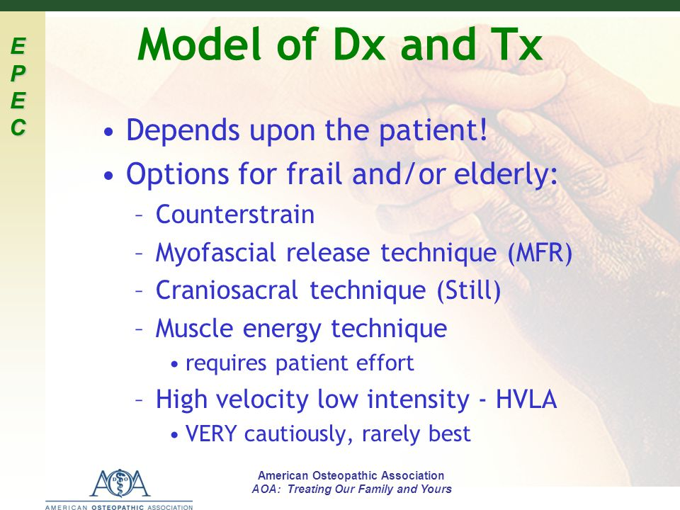 Model of Dx and Tx Depends upon the patient!