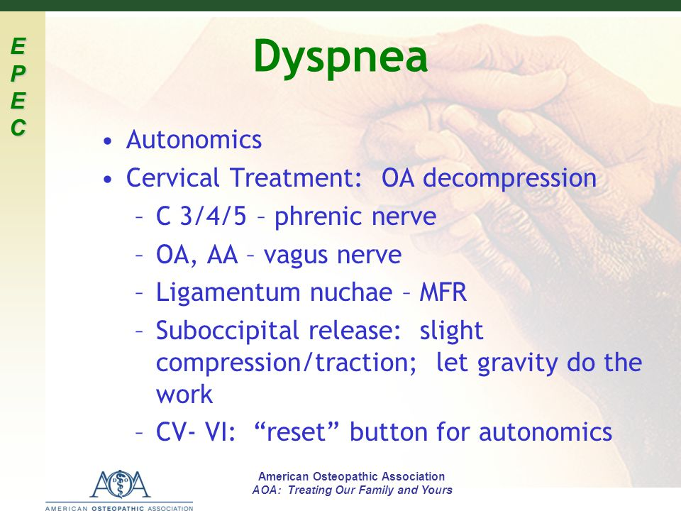 Dyspnea Autonomics Cervical Treatment: OA decompression