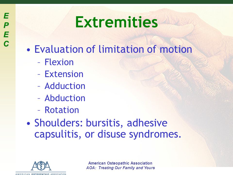 Extremities Evaluation of limitation of motion