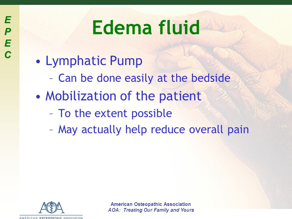 Edema fluid Lymphatic Pump Mobilization of the patient