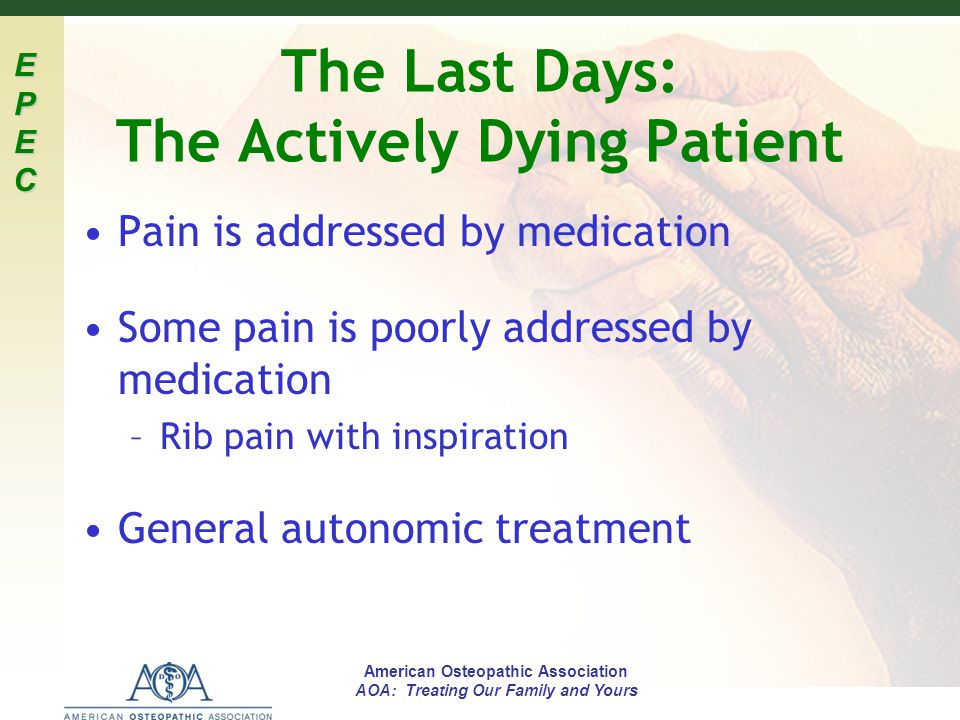 The Last Days: The Actively Dying Patient