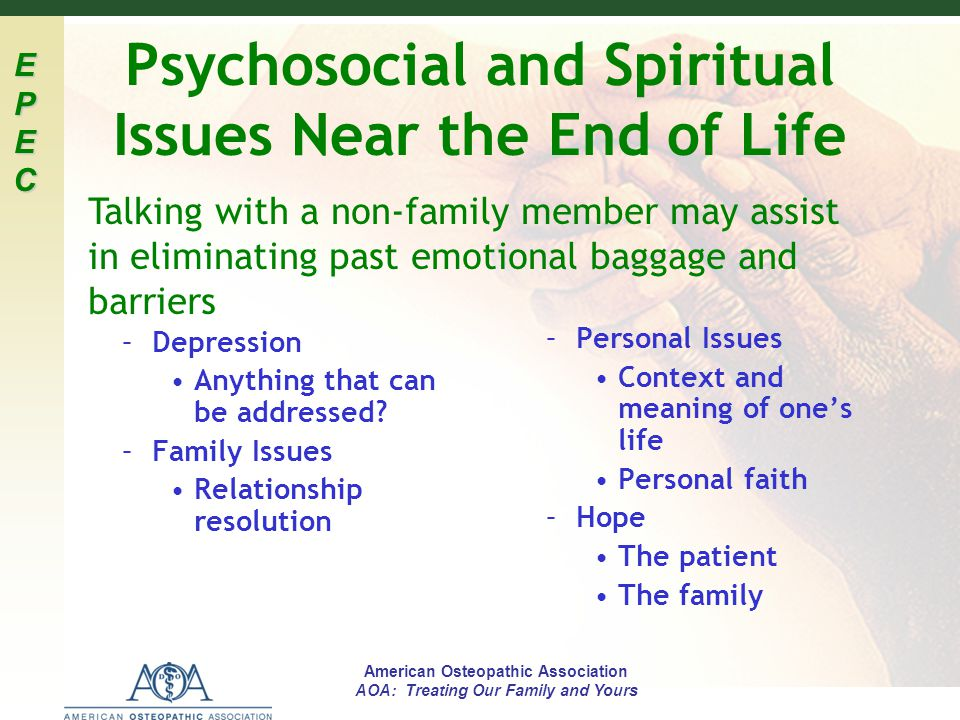 Psychosocial and Spiritual Issues Near the End of Life