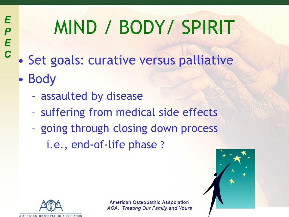 MIND / BODY/ SPIRIT Set goals: curative versus palliative Body