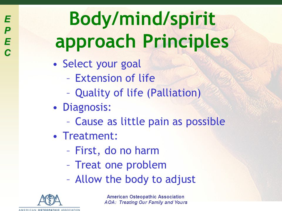 Body/mind/spirit approach Principles