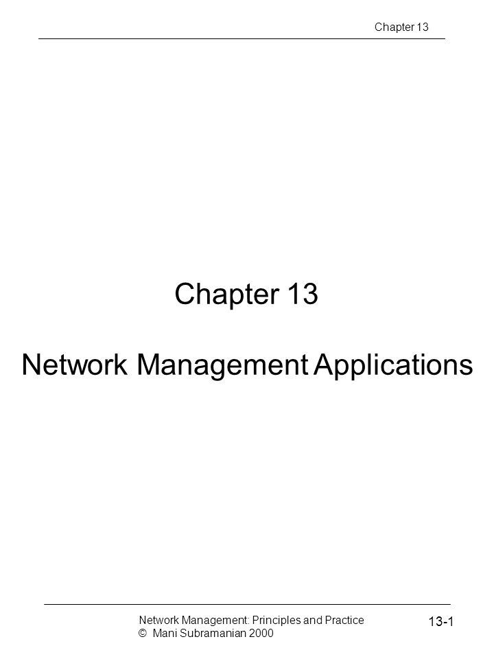 Network Management Applications