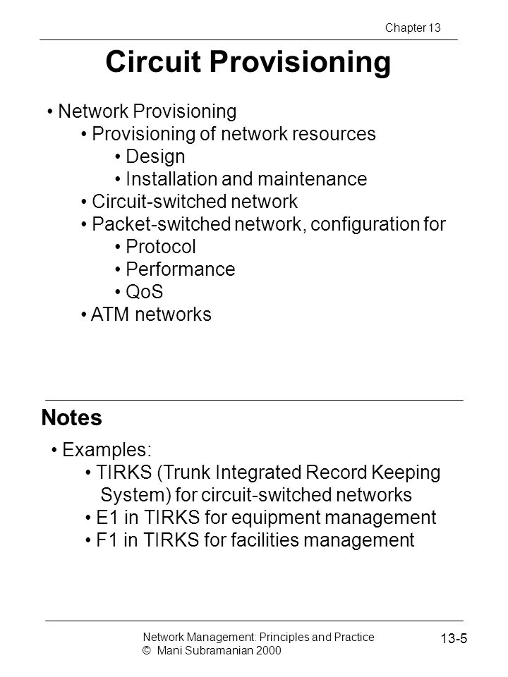 Circuit Provisioning Notes Network Provisioning