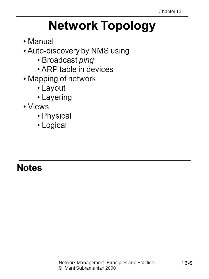 Network Topology Notes Manual Auto-discovery by NMS using