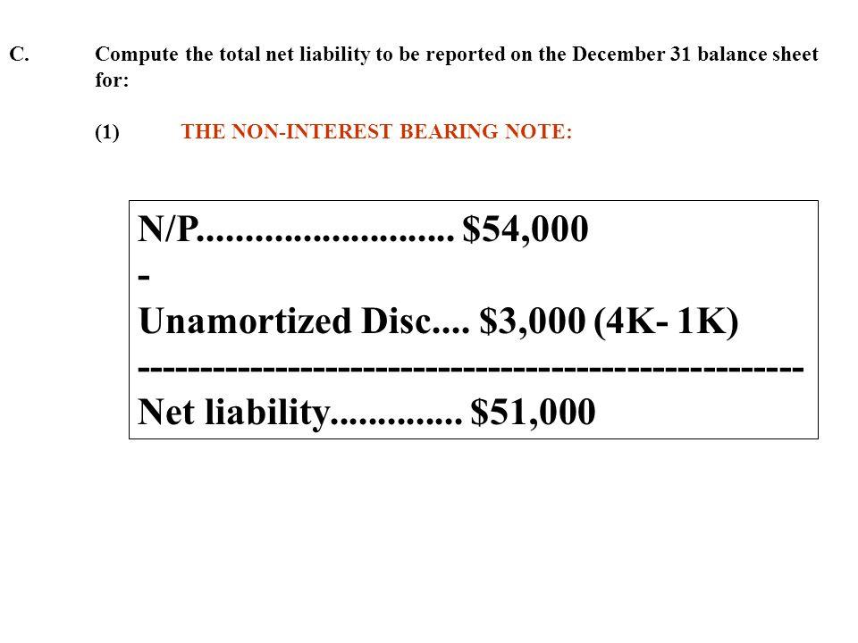 Unamortized Disc.... $3,000 (4K- 1K)