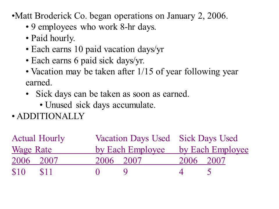 Matt Broderick Co. began operations on January 2, 2006.