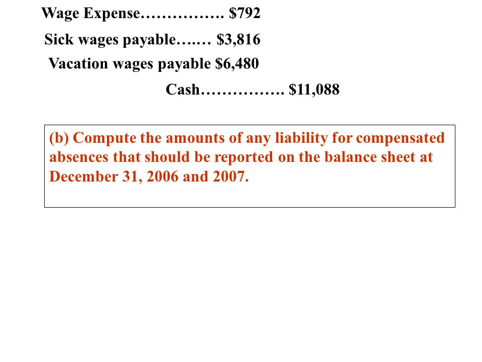 Wage Expense……………. $792 Sick wages payable….… $3,816. Vacation wages payable $6,480. Cash……………. $11,088.