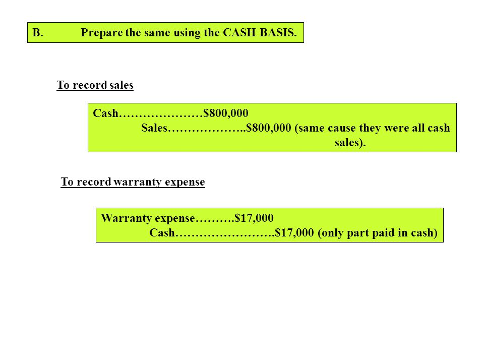 B. Prepare the same using the CASH BASIS.