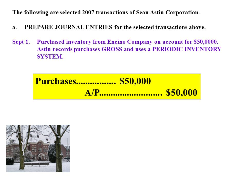 The following are selected 2007 transactions of Sean Astin Corporation.