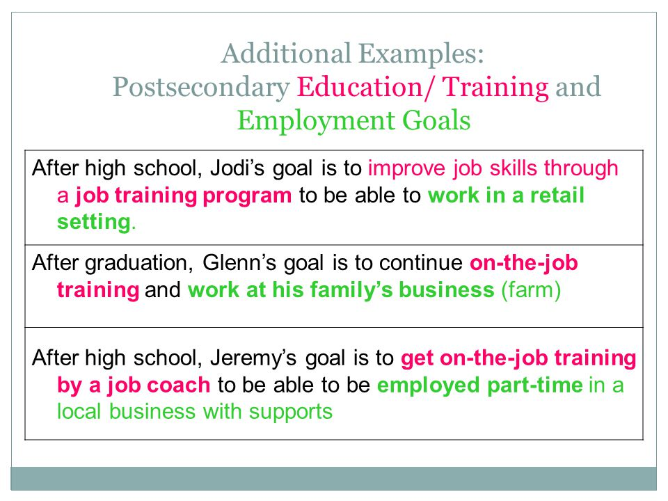 Additional Examples: Postsecondary Education/ Training and Employment Goals