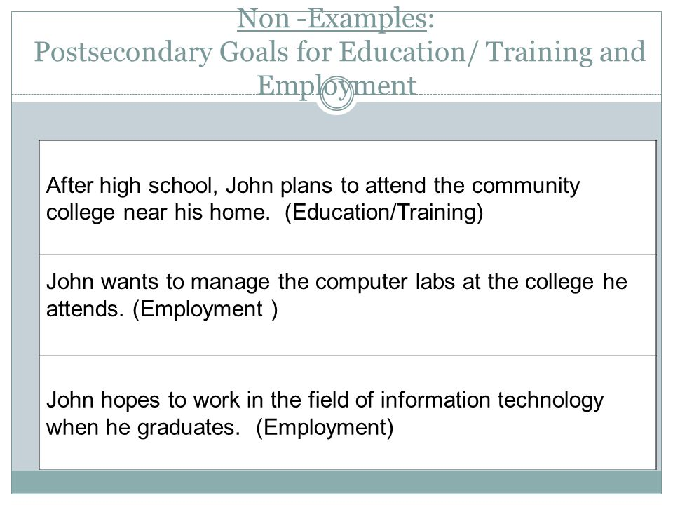 Apr-17 Non -Examples: Postsecondary Goals for Education/ Training and Employment. After high school, John plans to attend the community.