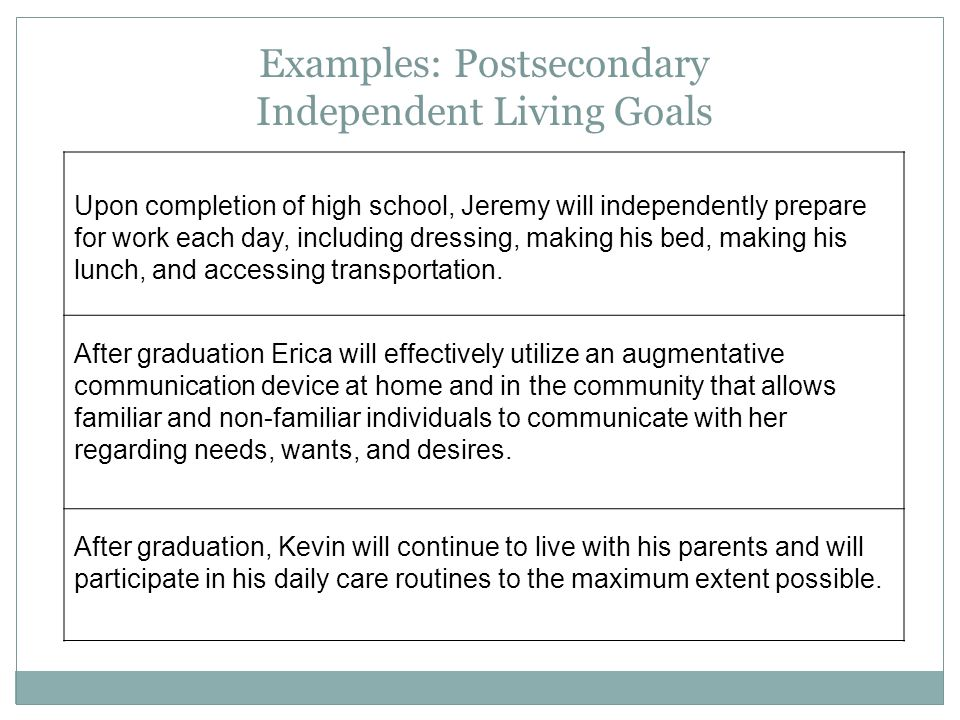 Examples: Postsecondary Independent Living Goals