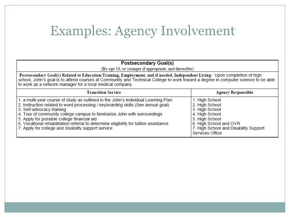 Examples: Agency Involvement