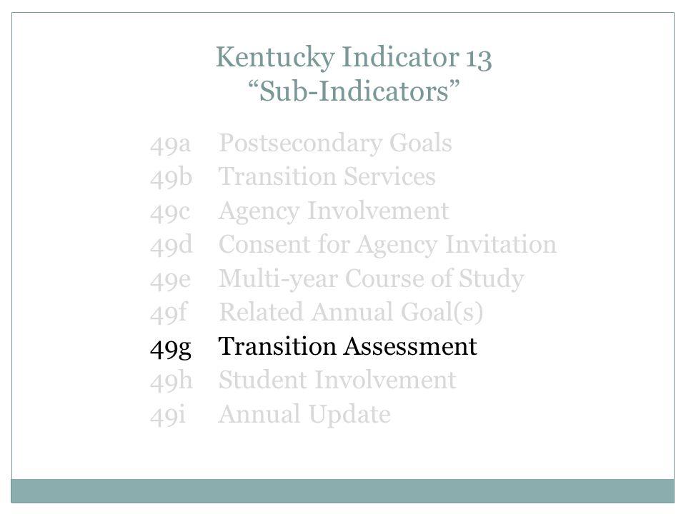 Kentucky Indicator 13 Sub-Indicators