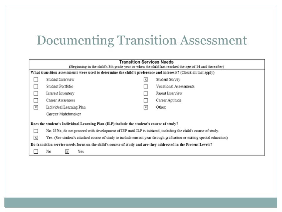 Documenting Transition Assessment