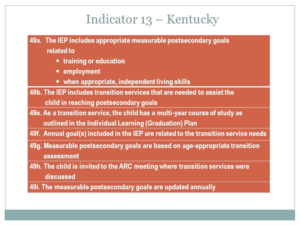 Apr-17 Indicator 13 – Kentucky. 49a. The IEP includes appropriate measurable postsecondary goals.