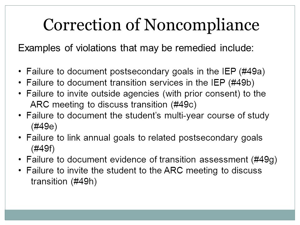 Correction of Noncompliance