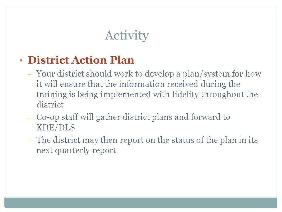 Activity District Action Plan