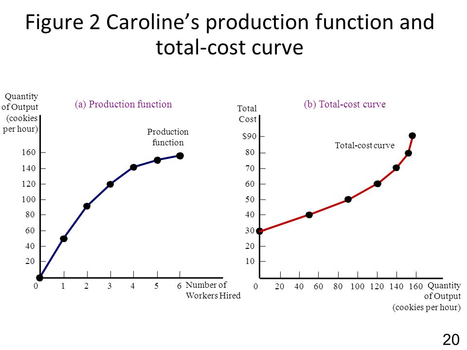 Figure 2 Caroline's production function and total-cost curve