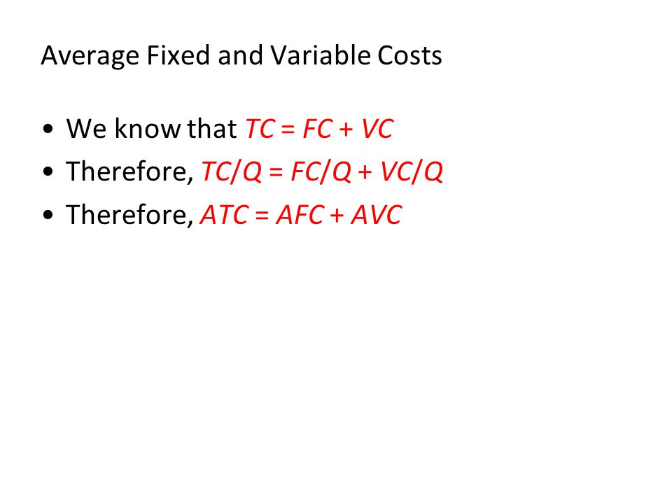 Average Fixed and Variable Costs