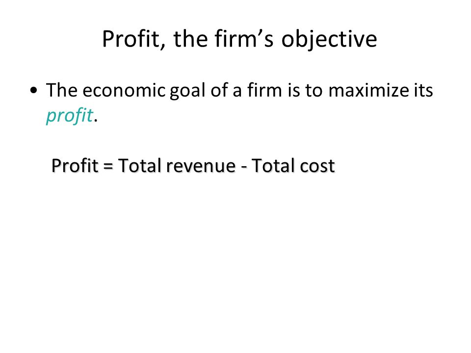 Profit, the firm's objective