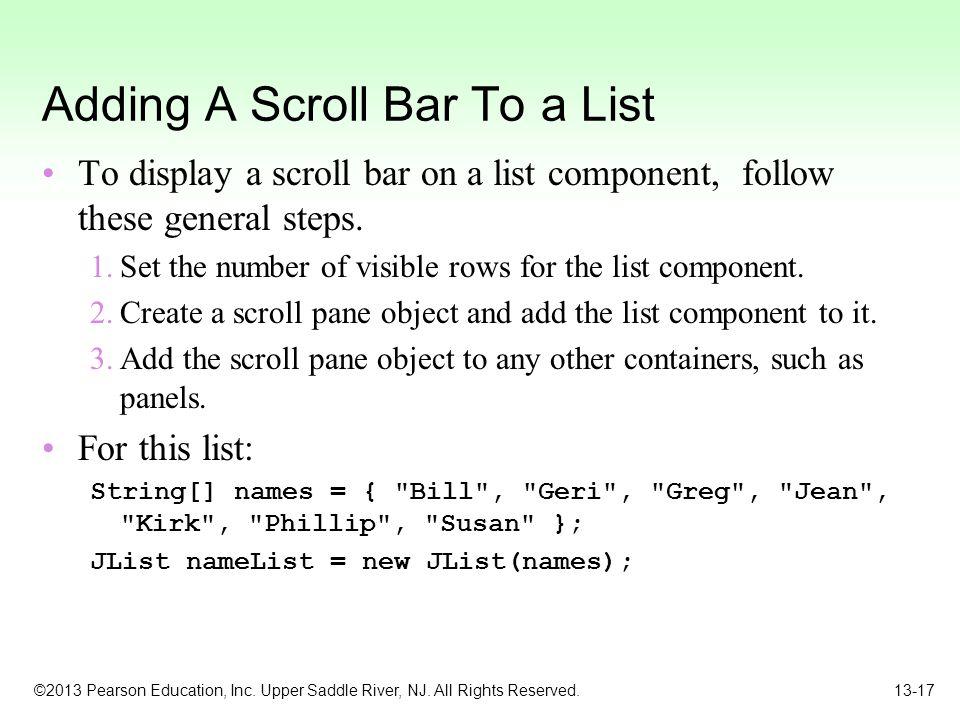 Adding A Scroll Bar To a List