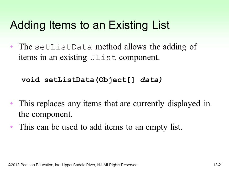Adding Items to an Existing List