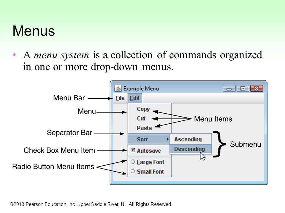 Menus A menu system is a collection of commands organized in one or more drop-down menus.