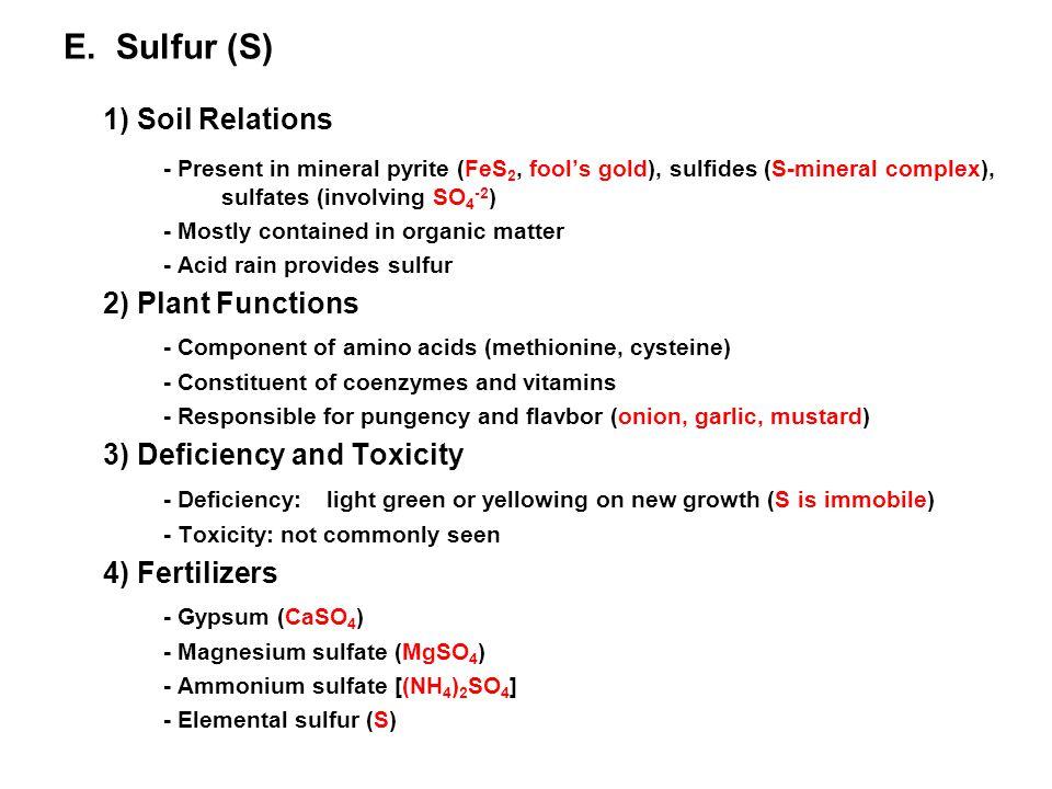 1) Soil Relations E. Sulfur (S)