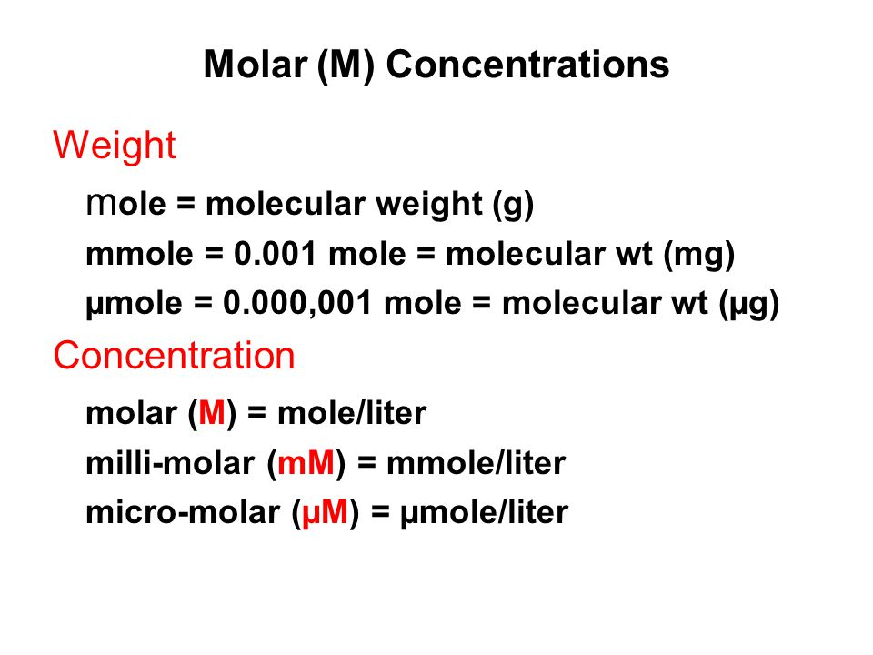 Molar (M) Concentrations