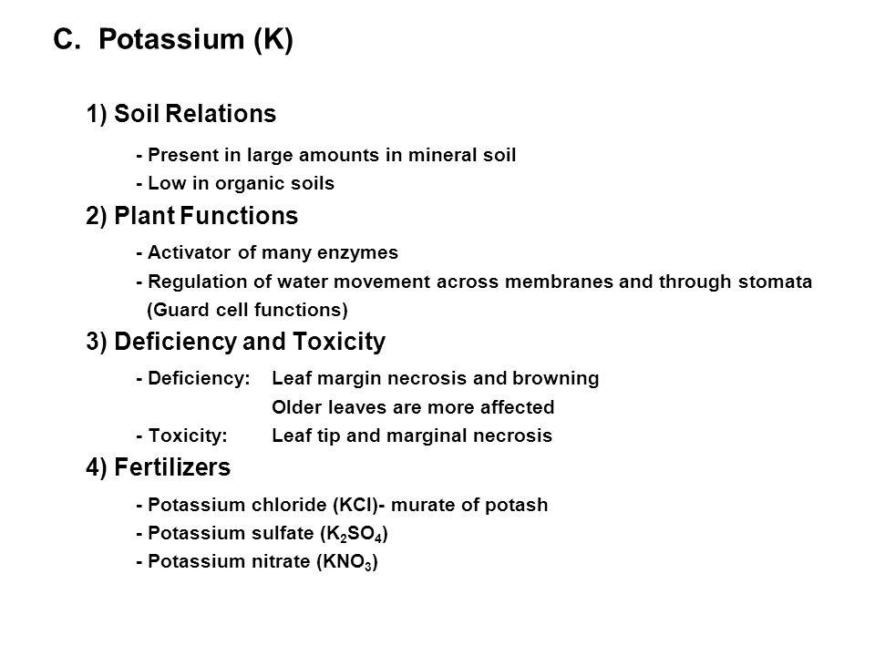 1) Soil Relations C. Potassium (K)