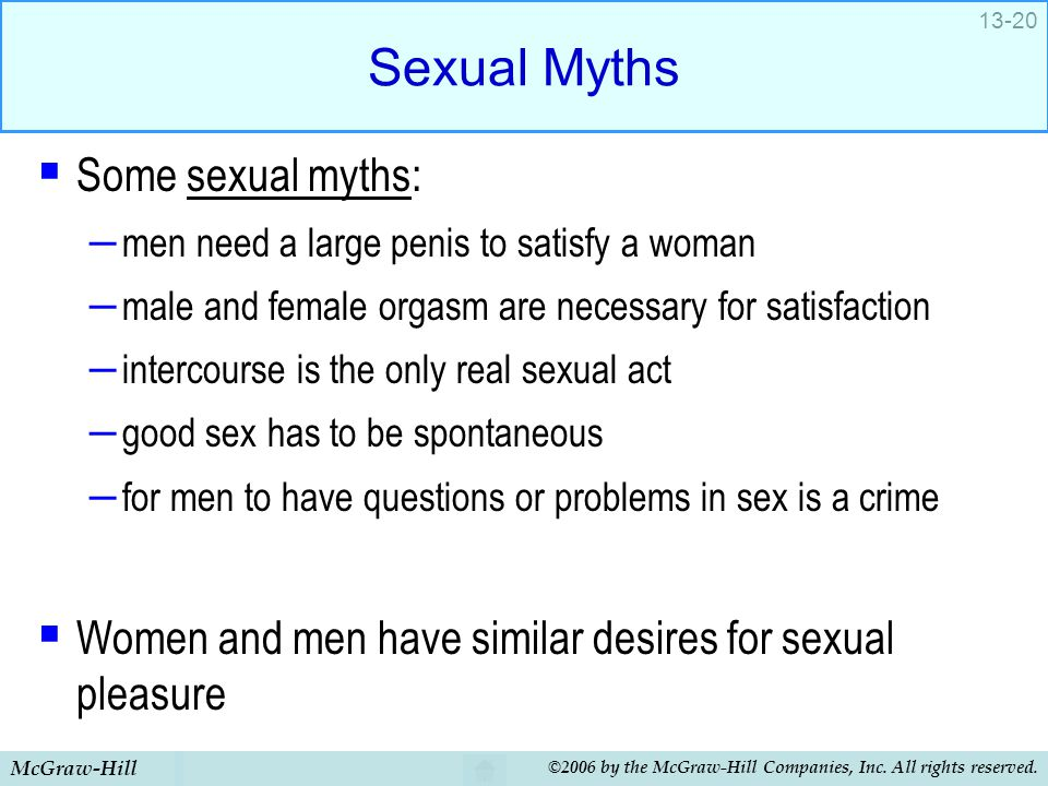 Sexual Myths Some sexual myths: