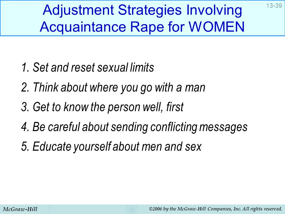 Adjustment Strategies Involving Acquaintance Rape for WOMEN