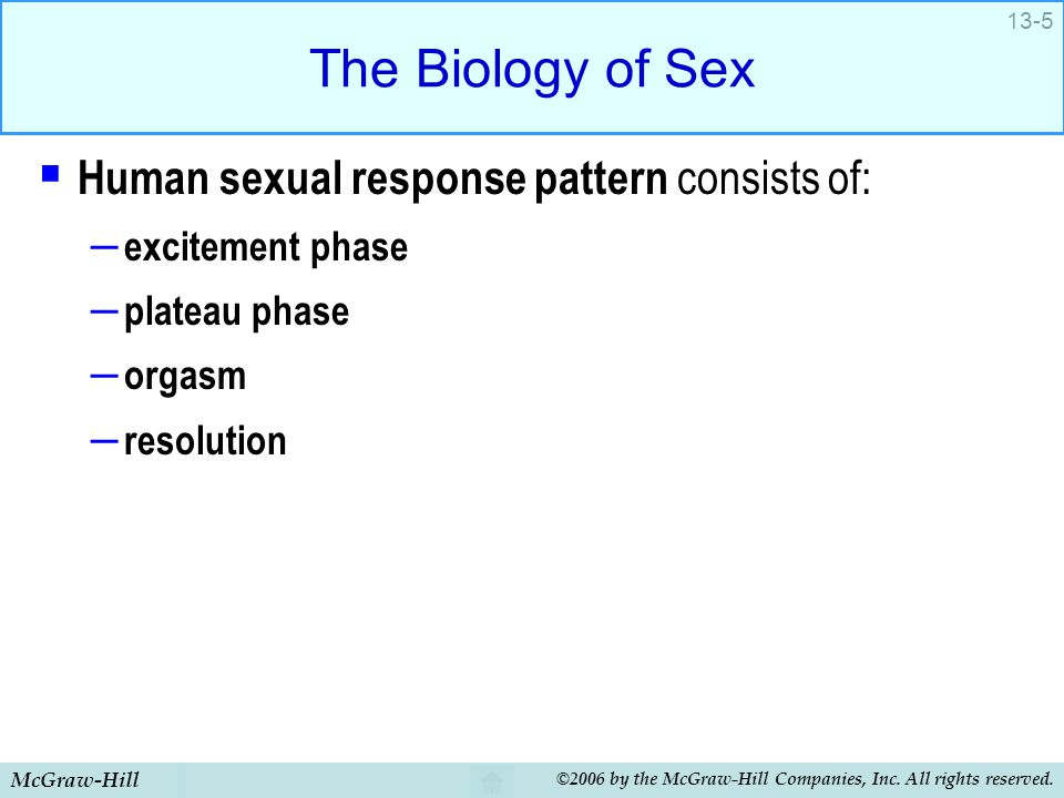 The Biology of Sex Human sexual response pattern consists of: