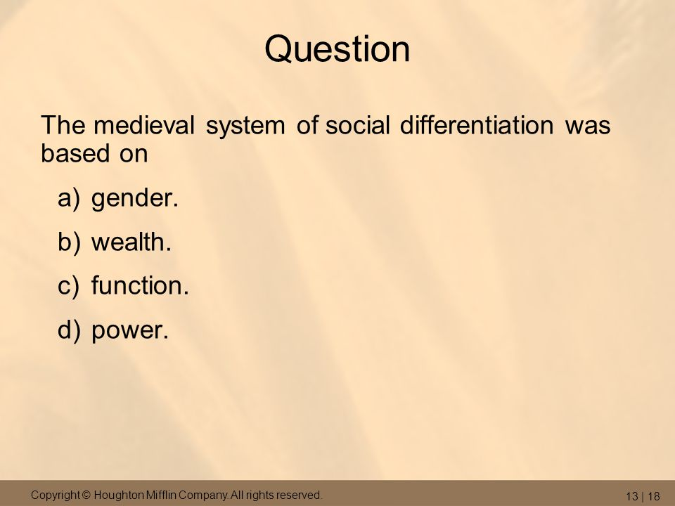 Question The medieval system of social differentiation was based on