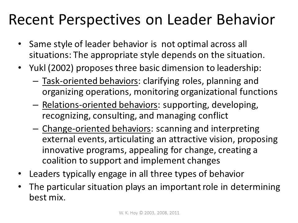 Recent Perspectives on Leader Behavior