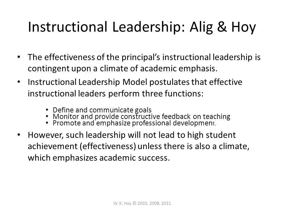 Instructional Leadership: Alig & Hoy