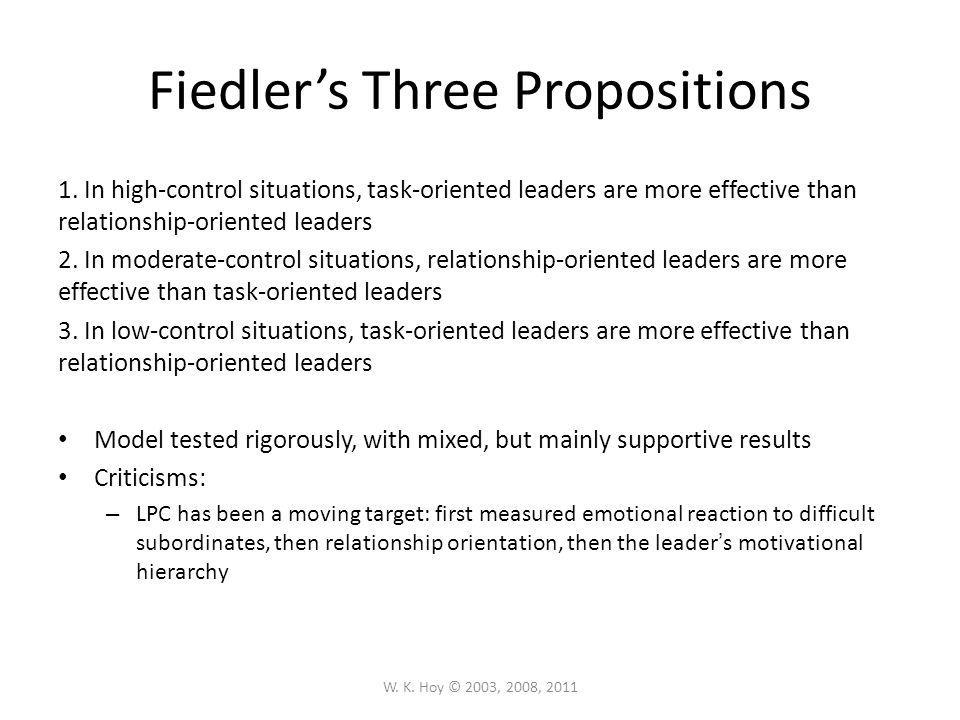 Fiedler's Three Propositions