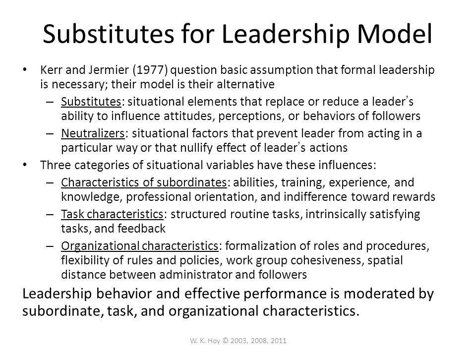 Substitutes for Leadership Model