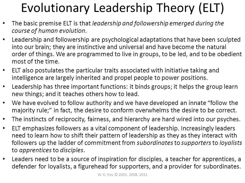 Evolutionary Leadership Theory (ELT)