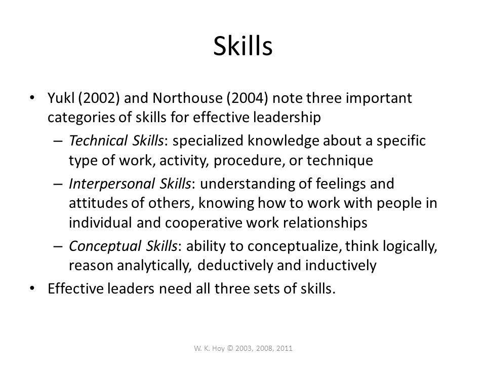 Skills Yukl (2002) and Northouse (2004) note three important categories of skills for effective leadership.