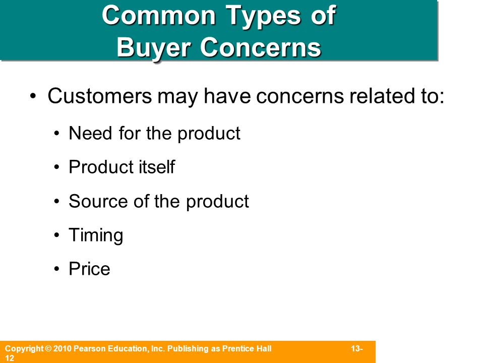 Common Types of Buyer Concerns