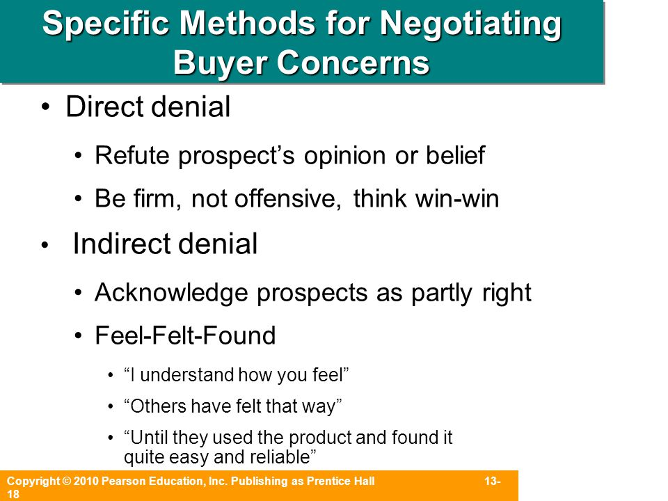 Specific Methods for Negotiating Buyer Concerns